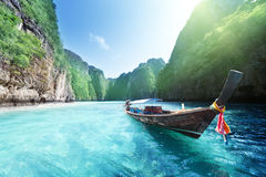 Boat and beautiful sea, Phi Phi island Stock Photos