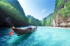 Boat and beautiful sea, Phi Phi island Stock Images