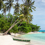 Boat on the beautiful tropical beach on Karimunjawa island Royalty Free Stock Image