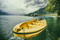 A boat that became life. Transportation area of the lake into a transport escort Stock Photos