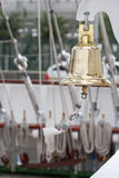 Boat bell aboard a sailboat Stock Photo