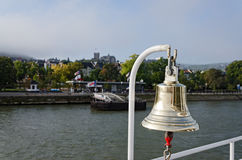 Boat Bell. Bell on cruise ship with sailor's knot on clapper. Rhine river, Germany Royalty Free Stock Images