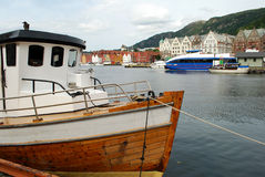 Boat in Bergen Harbor Royalty Free Stock Photography