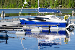 Boat at berth. A blue white boat stands by a berth Royalty Free Stock Photos