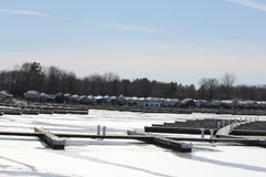 Boat Berth & Boats Winter Royalty Free Stock Photos