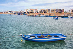 Boat with bicycle inside in Rabat Stock Photography