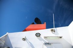 Boat with black chimney Stock Images
