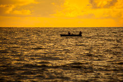 Boat on a Black Sea, beautiful sunset, Poti, Georgia Stock Photos