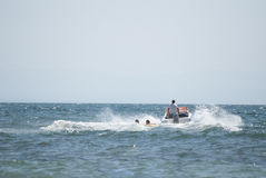Boat. Black Sea fun on the water , swimming on the plate by boat Royalty Free Stock Image