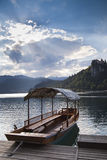 Boat in Bled Lake in Slovenia Royalty Free Stock Image