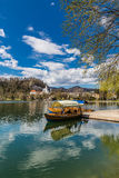 Boat On Bled Lake,St.Martin Church-Bled,Slovenia Stock Photo