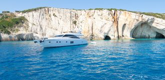 Boat at Blue Caves in Greece Stock Photography