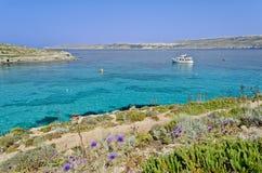Boat in the Blue Lagoon - Malta Stock Photo
