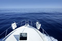 Boat on the blue Mediterranean Sea yachting. On a calm ocean Stock Photos