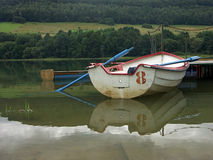 Boat with blue oars. 0811_24 Royalty Free Stock Image