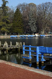 Boat blue pontoons on Annecy lake Royalty Free Stock Photo