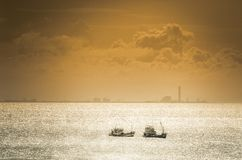 Boat on the blue sea nature in Thailand vintage Royalty Free Stock Images