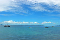 Boat in the blue sea Royalty Free Stock Images