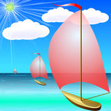 Boat on Blue Sea in Summer Stock Image