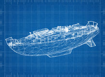 Boat blueprint – 3D perspective. Shoot of  the Boat blueprint – 3D perspective Royalty Free Stock Image