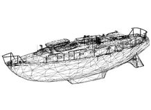 Boat blueprint – 3D perspective. Shoot of the Boat blueprint – 3D perspective Royalty Free Stock Photography