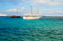 Boat. S wharf in the Mykonos habour Royalty Free Stock Photo