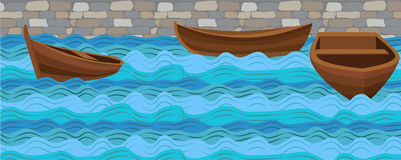 Boat boats wooden simple three ship on water sea river ocean wave waves calm tide roller wash brick stone wall background. Vector. Closeup side front beautiful royalty free illustration