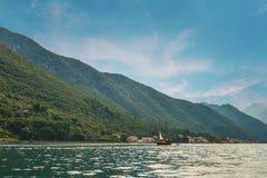 Boat in Boka Kotor bay Stock Photo