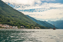 Boat in Boka Kotor bay Royalty Free Stock Photos