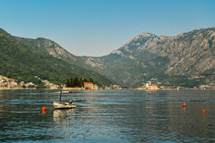 Boat in Boka Kotor bay. Near Perast and St.George Island Stock Image