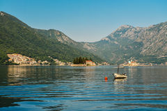 Boat in Boka Kotor bay. Near Perast and St.George Island Stock Photography