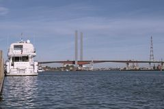 Boat and Bolte bridge Royalty Free Stock Images