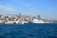 Boat on bosphorus Royalty Free Stock Images