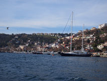 Boat on Bosphorus Strait. A Boat anchored on Bosphorus Strait on a bright day, Istanbul Royalty Free Stock Images