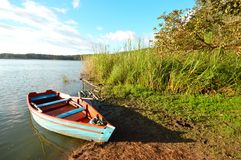 Boat at the Bosque Azul Lake in Chiapas Stock Photo