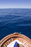 Boat bow. Old wooden fishing boat in the aegean sea Stock Photo