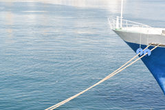 Boat bow. On a background of blue sea Stock Image