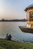 Boat bow over the lake in the dusk in Bucarest Romania Stock Photography