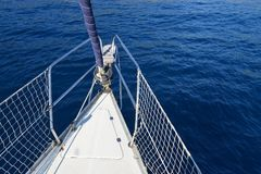 Boat bow sailing in blue Mediterranean sea Royalty Free Stock Image