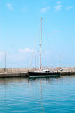Boat bow sailing in blue Mediterranean sea in summer vacation Royalty Free Stock Image