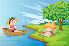 A boat with a boy and a girl studying at the riverbank vector illustration
