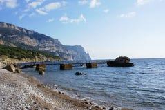 Boat bridge on the Black Sea`s coast Royalty Free Stock Photos