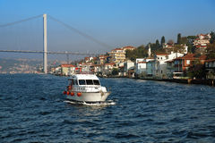 Boat, bridge and coast of Bosporus in Istanbul Royalty Free Stock Photos