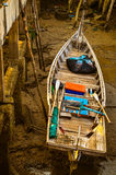 Boat at the bridge in evening Royalty Free Stock Photo