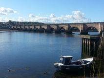 Boat and bridge royalty free stock photo