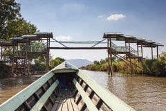 Boat and Bridge. Boat and footbridge, Inle Lake, Shan State, Burma, Myanmar Stock Photography