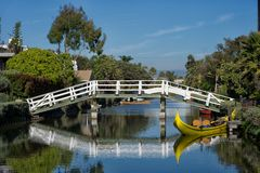 Boat and bridge reflection Royalty Free Stock Photography