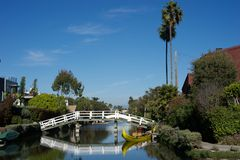 Boat and bridge reflection, Los angeles Royalty Free Stock Photography