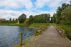 Soroe Lake in Denmark. A boat bridge on Soroe Lake in Denmark Stock Photography