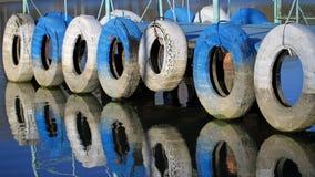 Boat Bridge. Tires on a boat bridge Stock Photo